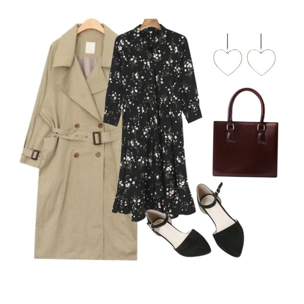 MINIBBONG 셀리 스트랩슈즈,AIN side out pocket long trench coat (3 colors),daily monday Unbal flower long shirt one-piece등을 매치한 코디