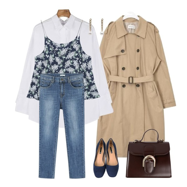 myblin 수국꽃 뷔스티에 (3color),AIN FRESH MORE over trench coat ( BLACK ),daily monday Back open cotton shirt등을 매치한 코디
