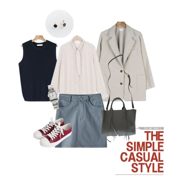 Untitled,daily monday Clean 3shape earring set,daily monday Natural linen single jacket등을 매치한 코디
