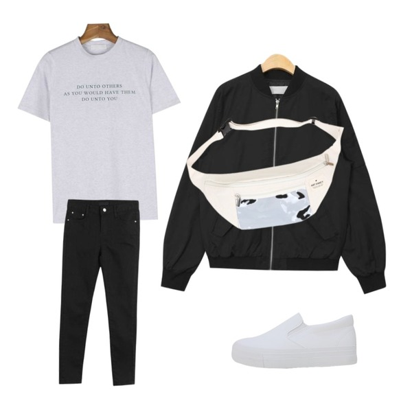 AIN casual fit bomber jumper (2 colors),daily monday Do round tee,LOOK CHIC cotton skinny pants등을 매치한 코디