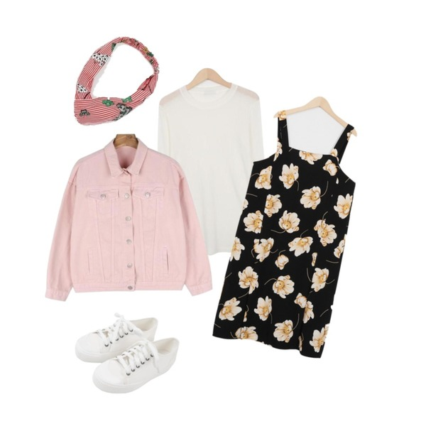 From Beginning Blanc flower sleevelss ops_H (size : free),From Beginning Lively colourful tencel T_H (size : free)[라임그린 4월 중순 입고 후 순차적배송,daily monday Color cotton daily jacket등을 매치한 코디