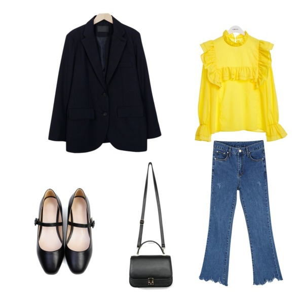 CHLO.D.MANON 펑키 데님 부츠컷,From Beginning Line 2 button simple jacket_B (size : free),TWEE Yellow frill blouse등을 매치한 코디