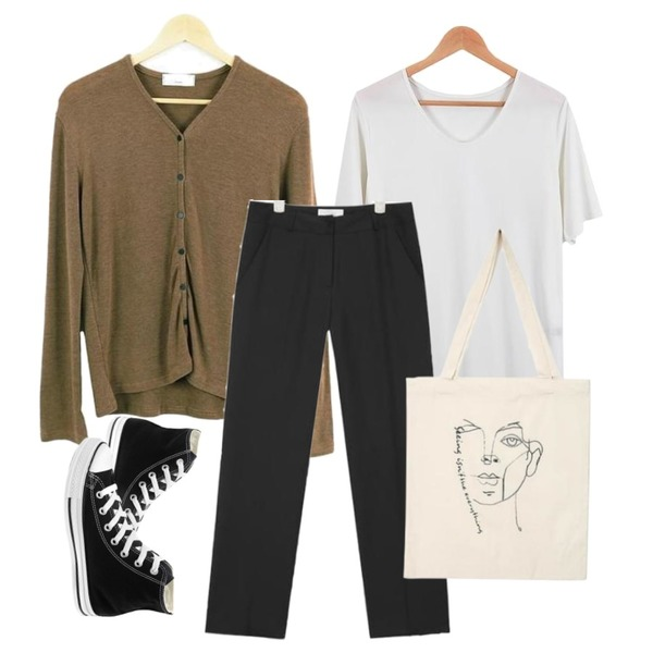 LOOK CHIC cardigan tee (3 color),LOOK CHIC single round tee (5 color),AIN clean fit straight slacks (3 colors)등을 매치한 코디