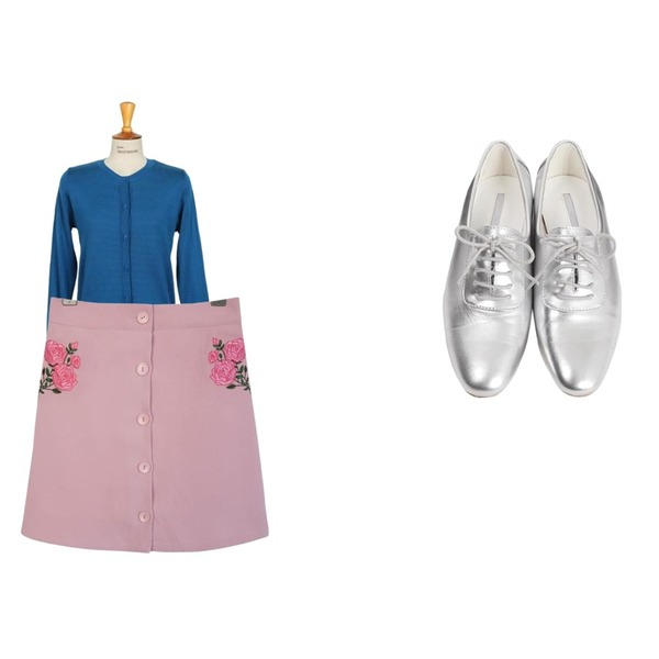 From Beginning Wooden basic oxford loafer_S (size : 230,235,240,245,250),GIRLS RULE 장미 자수 버튼 스커트 (sk578),From Beginning Cheese round cardigan_H (size : free)등을 매치한 코디