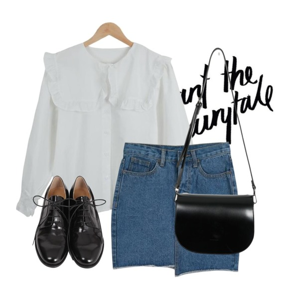 @thewriting,LOOK CHIC frill blouse,LOOK CHIC unbalance denim skirts (2 color)등을 매치한 코디