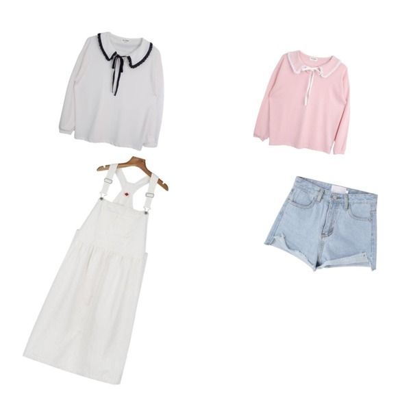 daily monday Flare cotton suspender one-piece,GIRLS RULE 레이스 카라 티셔츠 (t2714),GIRLS RULE 레이스 카라 티셔츠 (t2714)등을 매치한 코디