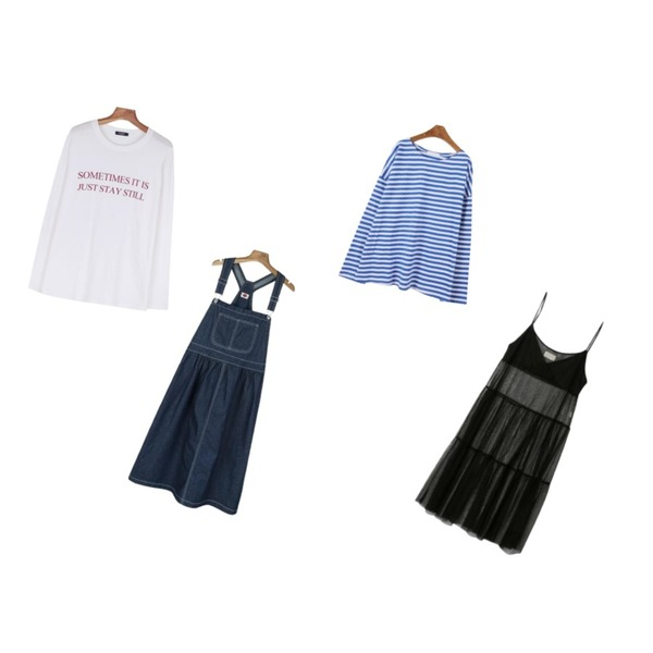 MINIBBONG 코크 스트라이프 티,daily monday Daily long sleeve typo tee,daily monday Flare cotton suspender one-piece등을 매치한 코디