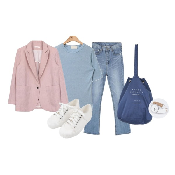 AIN round neck casual mood T (4 colors),CHLO.D.MANON 완벽핏 반하이웨스트 부츠컷,biznshoe Linen one button jacket (4color)등을 매치한 코디