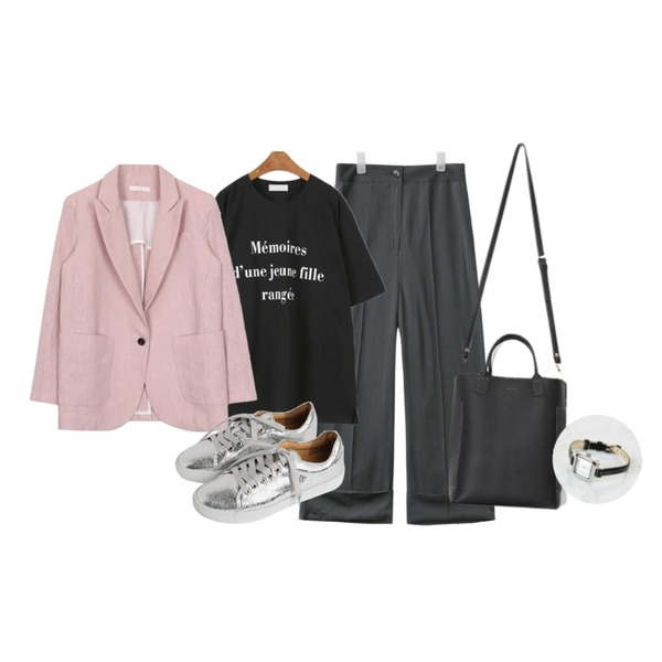 AIN feel good roll up slacks (2 colors),MINIBBONG 메모리 레터링티셔츠,biznshoe Linen one button jacket (4color)등을 매치한 코디