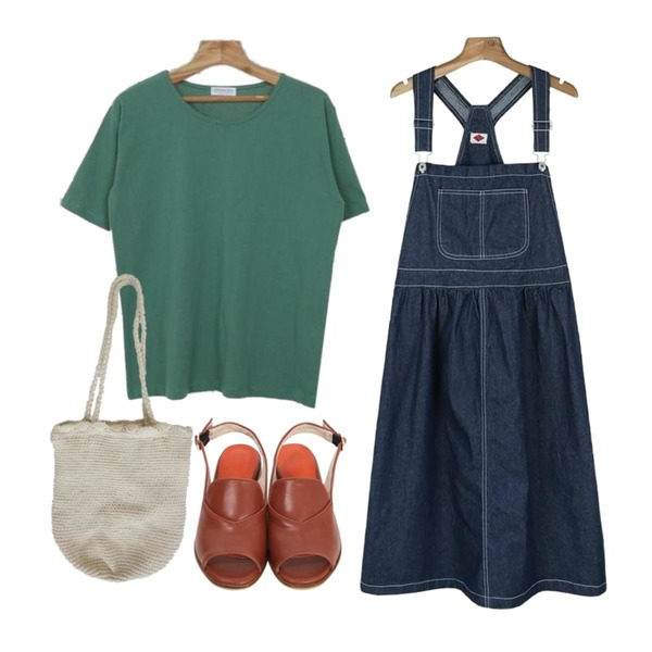 From Beginning Classic open toe sandal_K(size : 230,235,240,245,250),Zemma World Second-베이직티셔츠,daily monday Flare cotton suspender one-piece등을 매치한 코디