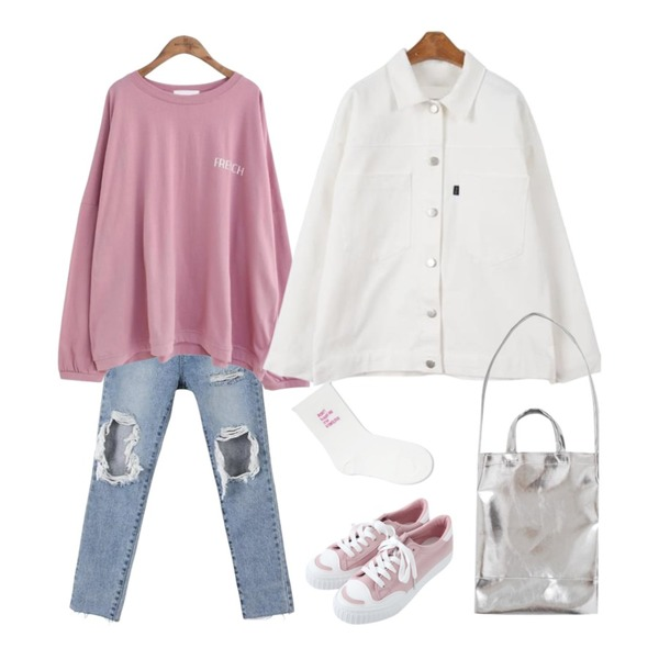 common unique [TOP] OVER FIT FRENCH LETTERING T,MINIBBONG 펀치 연청 무파진,MINIBBONG 레이지 코튼자켓등을 매치한 코디