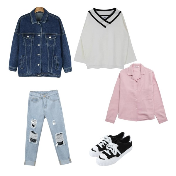 MIXXMIX 세라 브이 오프숄더 니트,IHRER SHAPE Pigment Collar Shirt PINK,daily monday Casual boxy denim jacket등을 매치한 코디