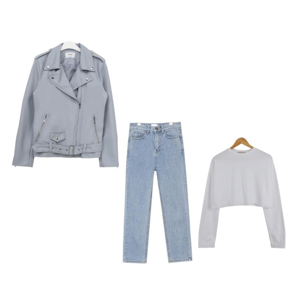 PSYCHOSHOP 프리미엄 스냅 라이더자켓 (3colors),AIN mild washing straight fit denim pants,LOOK CHIC box crop tee (3 color)등을 매치한 코디