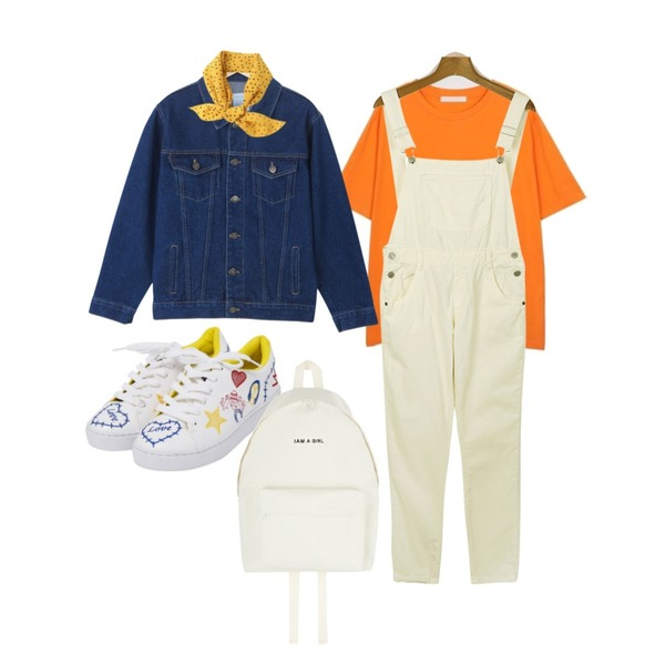 daily monday Code name corduroy overalls[오버롤,멜빵바지,골덴,코튜로이,보이핏,멜빵],TWEE 톡톡 자수 스니커즈,From Beginning Marseille color T_S (size : free)등을 매치한 코디