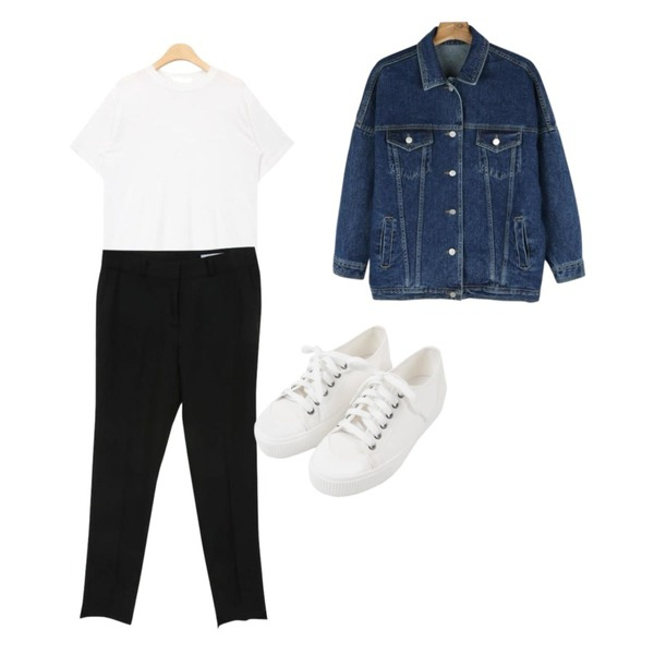 daily monday Casual boxy denim jacket,Zemma World 젠틀-슬렉스 (ver.S/S슬림언발),AIN out stitch silky touch T (4 colors)등을 매치한 코디