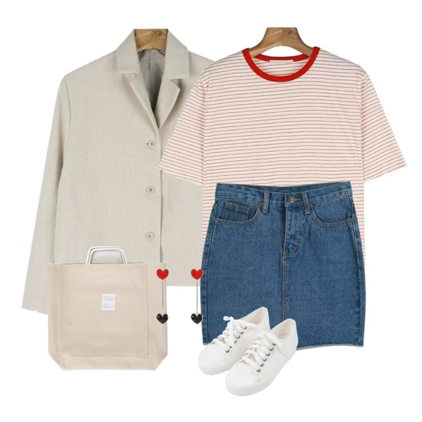 daily monday Short linen jacket,daily monday Coloring neck stripe tee,LOOK CHIC unbalance denim skirts (2 color)등을 매치한 코디