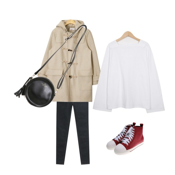 AIN casual wool hoody duffle coat (2 colors),From Beginning 4 season square neck T_S (size : free),TODAY ME 킨스 스키니진등을 매치한 코디