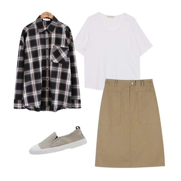 biznshoe U neck tee (2color),common unique [TOP] BINCH CHECK SHIRTS ,daily monday Basic cotton h-line midi skirt등을 매치한 코디