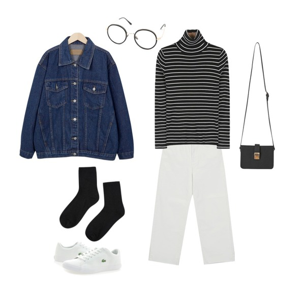 From Beginning Whenever easy cotton pants_H (size : S,M,L),daily monday Stripe slim golgi pola tee,From Beginning Standard boxy denim jacket_K(size : free)등을 매치한 코디