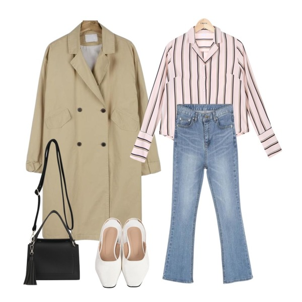 biznshoe Tassel square mini bag (4color),TWEE Ribbon cuffs color stripe blouse,daily monday Casual sleeve point trench coat등을 매치한 코디