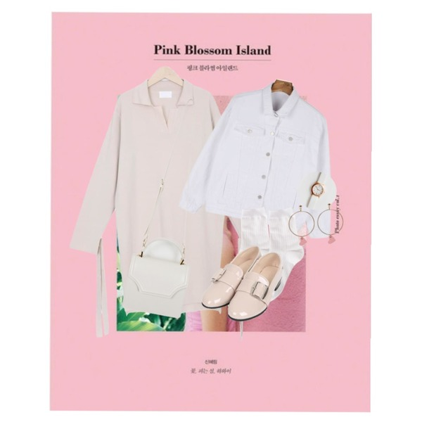 AIN Pink Blossom Island+The way to the North,myblin 슬릿넷 카라 니트 원피스 (3color),daily monday Color cotton daily jacket등을 매치한 코디