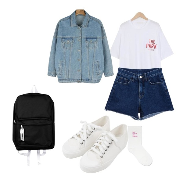 TWEE Cutting denim short pants,daily monday Casual boxy denim jacket,From Beginning Park boxy round T_H (size : free)등을 매치한 코디