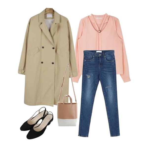 daily monday Casual sleeve point trench coat,BANHALA 메인제이 팬츠,MIXXMIX 안젤 벨트 블라우스등을 매치한 코디
