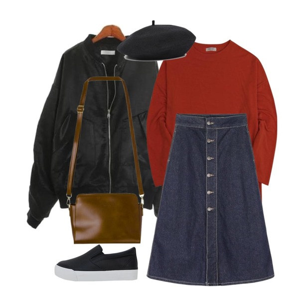 IHRER SHAPE Fresh Lips Round T-shirtOrange,ROCOSIX letter shirring jacket,daily monday A-line button long denim skirt등을 매치한 코디
