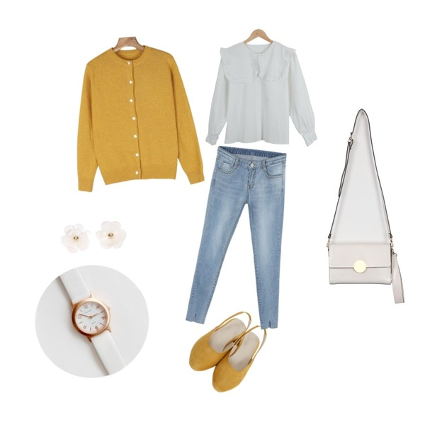 From Beginning Sweat middle slingback shoes_H (size : 225,230,235,240,245,250),daily monday Round neck basic simple cardigan,LOOK CHIC frill blouse등을 매치한 코디