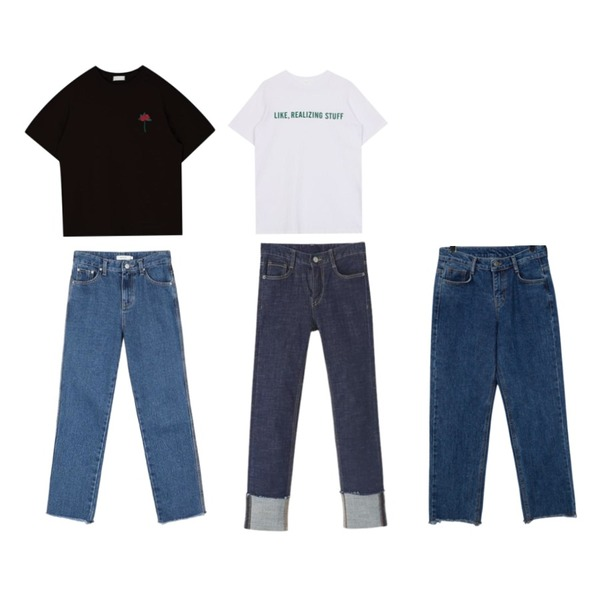 daily monday Daily 7days denim (진청),biznshoe Like tee (2color),MIXXMIX 하이바라 트임 티셔츠등을 매치한 코디