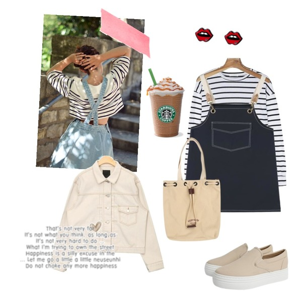 stripe,daily monday Natural cutting stripe tee,daily monday Adorable pocket one-piece등을 매치한 코디