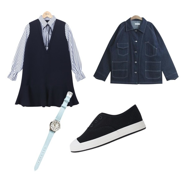daily monday Casio two-color denim watch,TWEE layered flare shirts onepiece,TODAY ME 코넬 자켓등을 매치한 코디