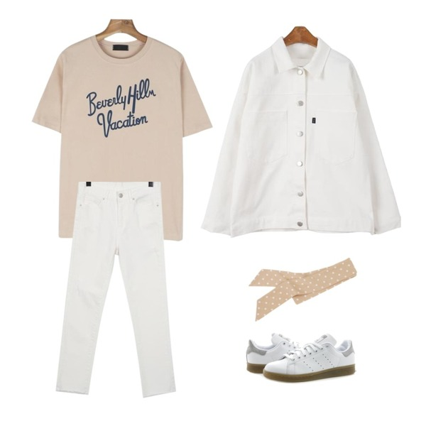 daily monday Beverly hills tee,From Beginning Master slim cotton pants_K(size : 25,26,27,28,29),MINIBBONG 레이지 코튼자켓등을 매치한 코디