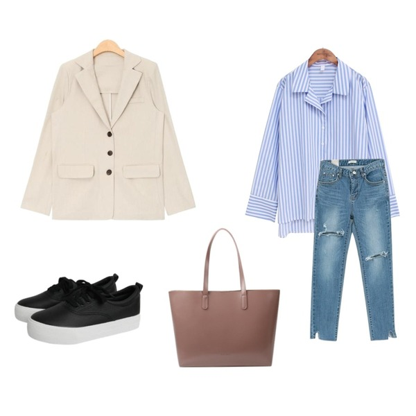 NEW NEED NOW 언발란스 컷팅 데님 팬츠,common unique [TOP] BOLD STRIPE V-NECK KARA SHIRTS,AIN basic fit 3-button cotton jacket (3 colors)등을 매치한 코디