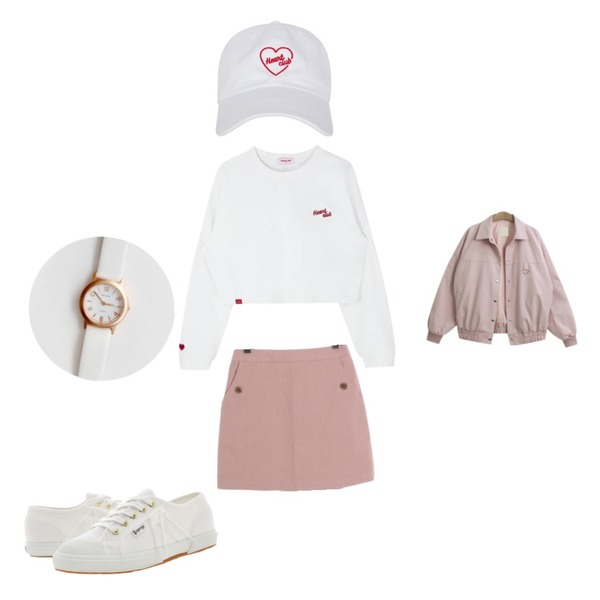 MIXXMIX Heart club 16SC Heart simple cap(white),TODAY ME 파인트 점퍼,ROCOSIX basic mini skirt등을 매치한 코디