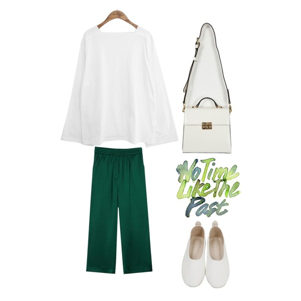 From Beginning Grow color flat shoes_H (size : 230,235,240,245,250),biznshoe Silky banding slacks (3color),common unique [TOP] SQUARE NECK WIDE SLEEVE T등을 매치한 코디