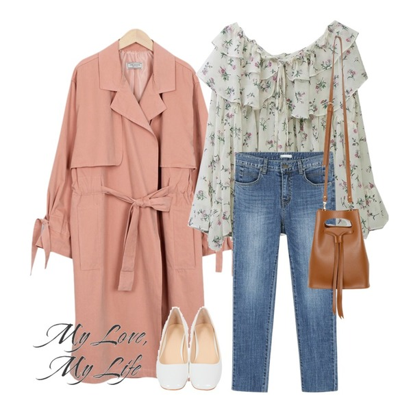 From Beginning Made_outer-061_open string trench coat (size : free),daily monday Cutting slim skinny,SOMEDAYS 봄날 프릴 블라우스(ver.핑크)/1-3일 소요됩니다:)등을 매치한 코디
