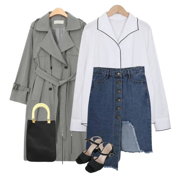 AIN spring side slit trench coat (2 colors),MIXXMIX 언발 청 스커트,From Beginning Bound piping collar blouse_H (size : free)등을 매치한 코디