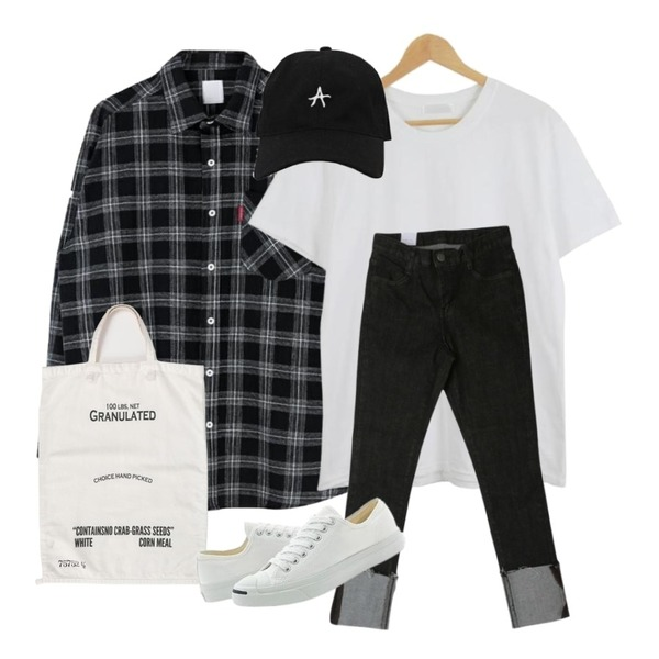 From Beginning Memo cotton shopper bag_S (size : one),MIXXMIX 데이지 체크 남방,LOOK CHIC simple tee (10 color)등을 매치한 코디