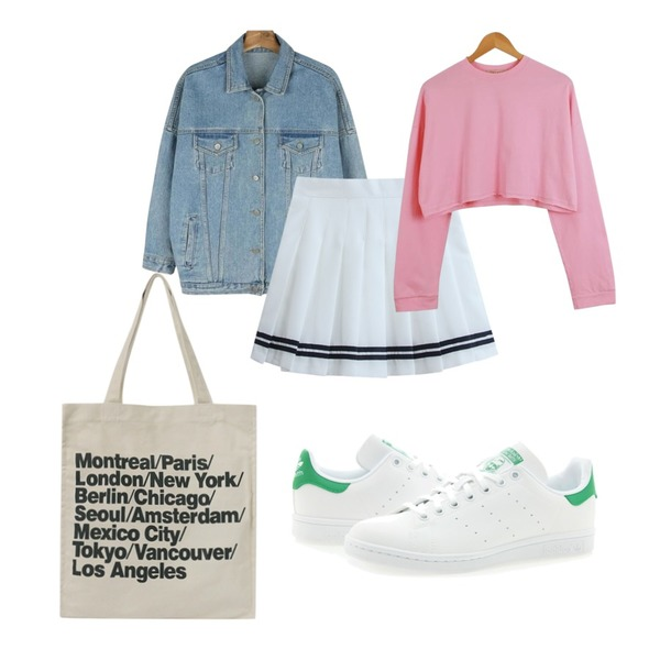 TODAY ME [skirt]디토 테니스 스커트,daily monday Casual boxy denim jacket,LOOK CHIC box crop tee (3 color)등을 매치한 코디