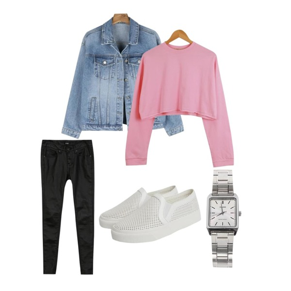 daily monday Color cotton daily jacket,GARCONNE 조이 코팅스키니진,LOOK CHIC box crop tee (3 color)등을 매치한 코디
