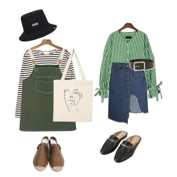 MIXXMIX 콩 스트라이프 티셔츠,daily monday Adorable pocket one-piece,MIXXMIX HIDE Point Bucket Hat등을 매치한 코디
