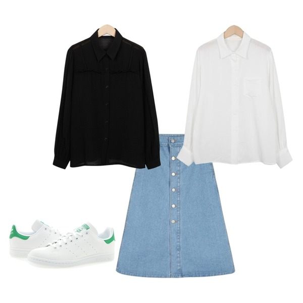 From Beginning Our slip layer blouse_S (size : free),From Beginning Bubble pocket blouse_K(size : free),daily monday A-line button long denim skirt등을 매치한 코디