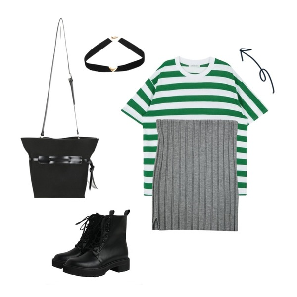 MIXXMIX HIDE AND SEEK 16 SS AVertical Unbalance Stripe Top(Green),daily monday String modern bag,LOVABLE 쫀쫀니트 스커트 (2color) / 핏 보장♥등을 매치한 코디