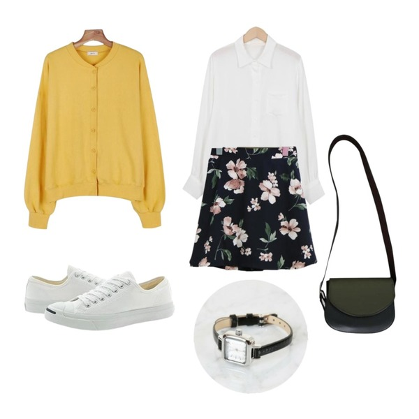 SOMEDAYS 레아 플라워 스커트(2color),From Beginning Bubble pocket blouse_K(size : free),daily monday Daily bagel cardigan등을 매치한 코디