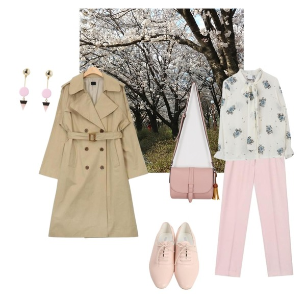 AIN wide sleeve boxy fit trench coat (2 colors),AIN clean fit straight slacks (3 colors),사진등을 매치한 코디