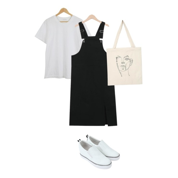 myblin 키높이 레더 슬립온,From Beginning Mount cotton overall ops_M (size : M,L),LOOK CHIC simple tee (10 color)등을 매치한 코디
