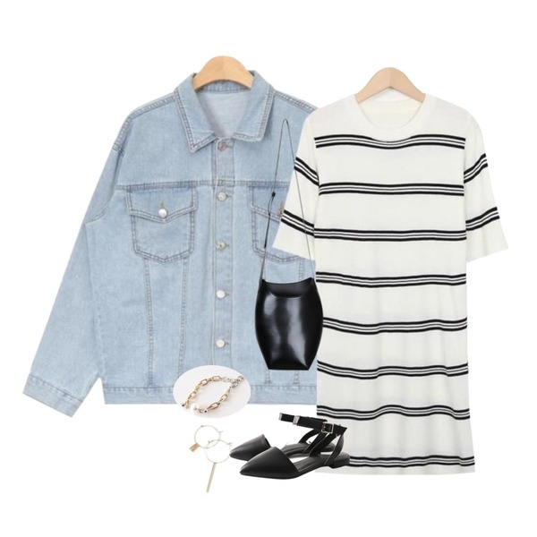 AIN daily standard denim jacket (3 colors),From Beginning Floor stripe knit ops_H (size : free),myblin 슬리크 볼륨 숄더 백 (3color)등을 매치한 코디