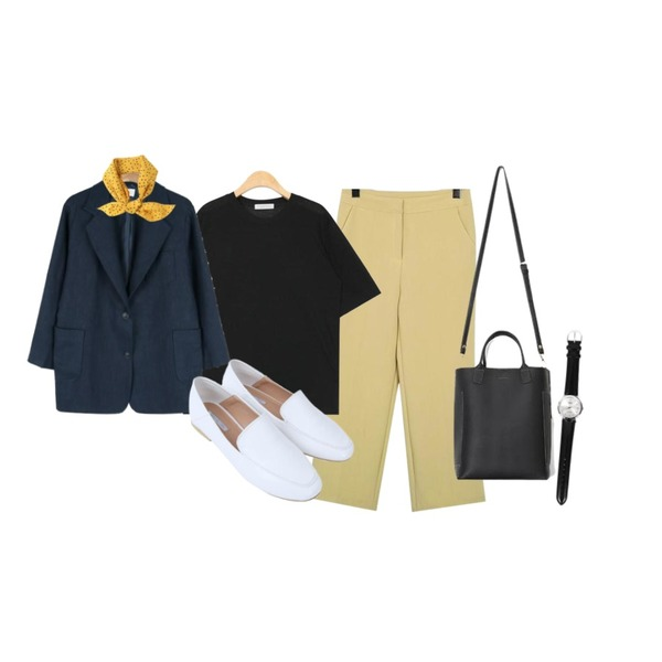 daily monday Natural linen single jacket,AIN boxy fit tencel 1/2 T (4 colors),From Beginning Pastel crop formal slacks_K(size : S,M)등을 매치한 코디
