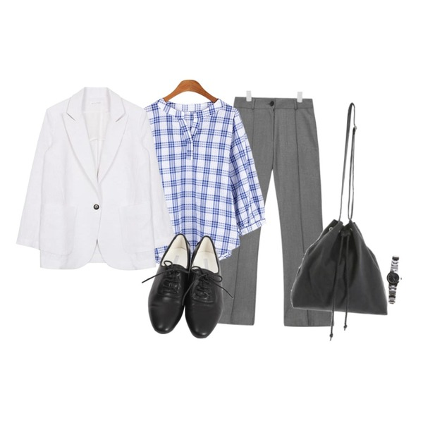 BANHALA 고아웃 블라우스,AIN stylish stripe boots cut slacks (2 colors),biznshoe Linen one button jacket (4color)등을 매치한 코디